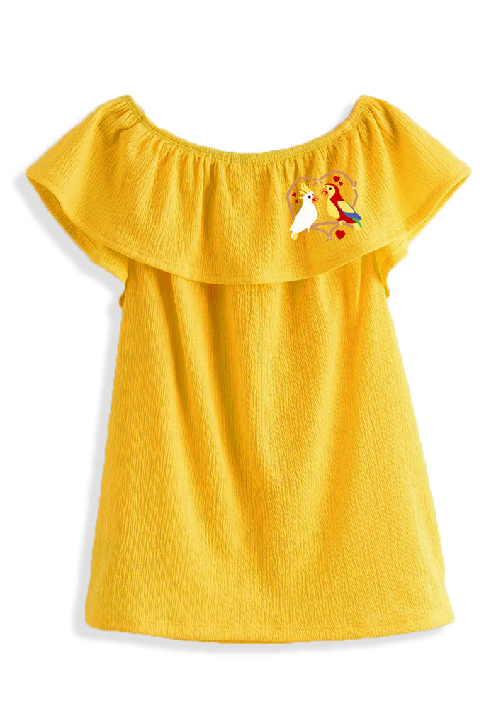 Pre-Order Love Birds Embroidered Flounce Top in Yellow