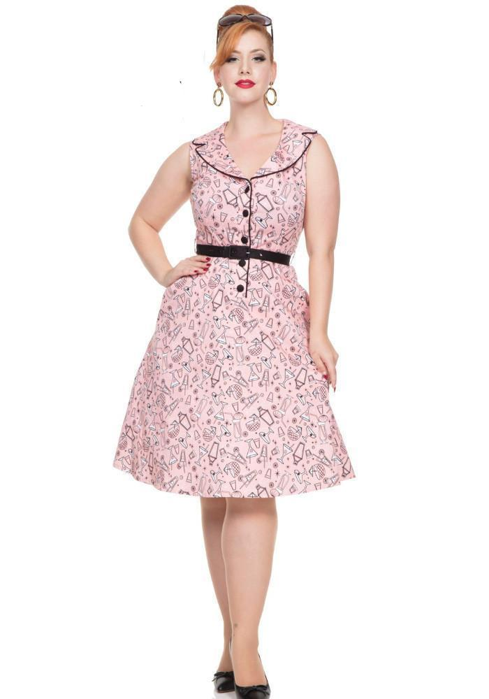 Retro Cocktail Novelty Print May Belle Dress, in Pink