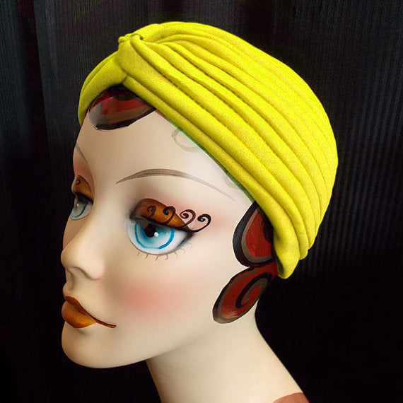 """Final Sale"" Vintage Style Turban, Yellow"