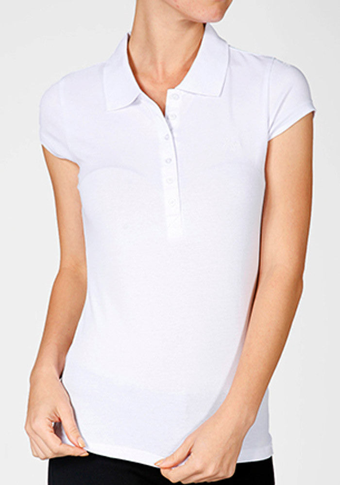 Perfect Pin Up Polo Top, White