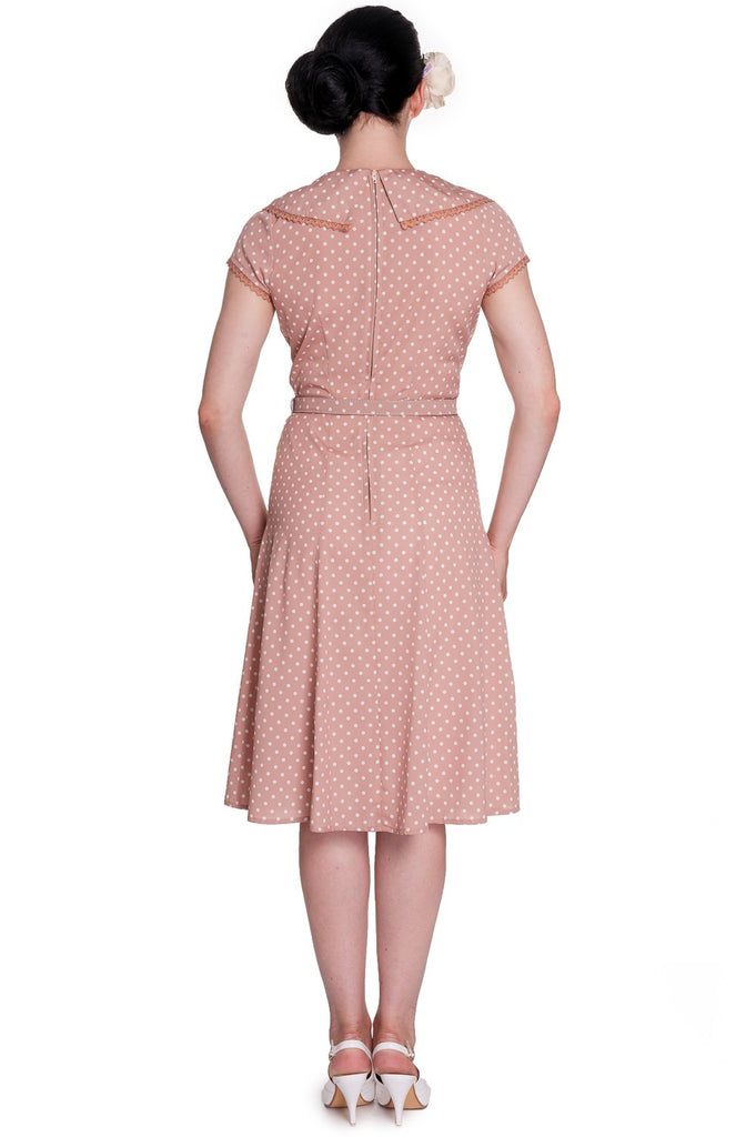 """Final Sale"" Ingrid Polka Dot 40s Style Dress in Latte"