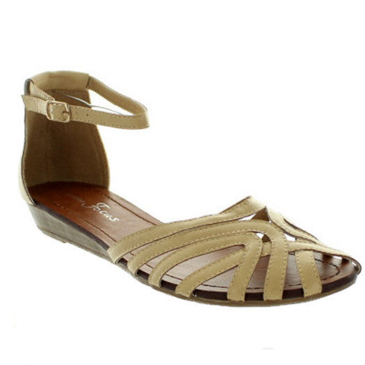 """Final Sale"" Rosarito Sandals With Ankle Strap, Natural"