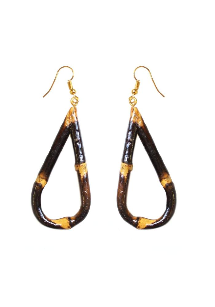 Burnt Teardrop Bamboo Earrings