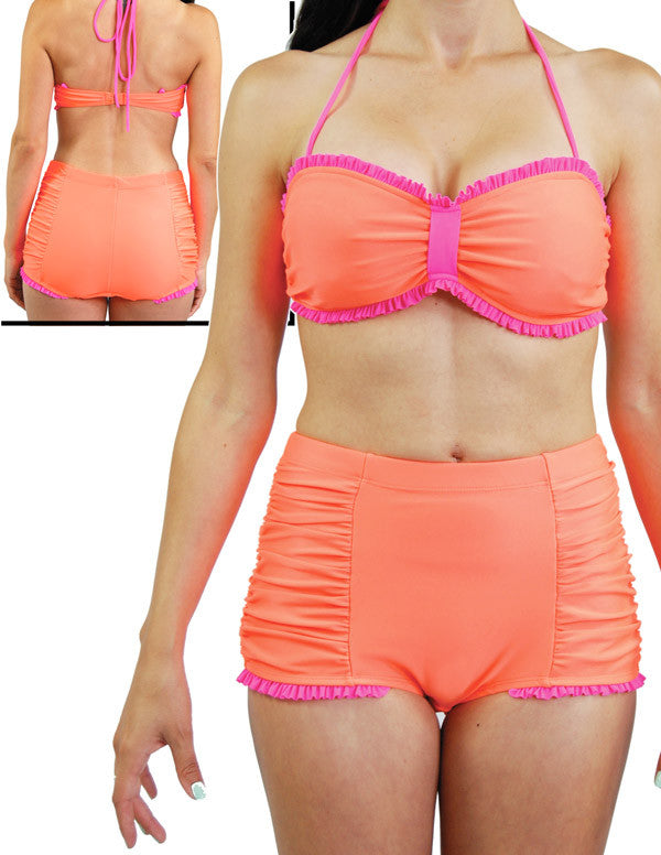 """Final Sale"" Retro Neon Orange 2 Piece Swimsuit by Steady Clothing"