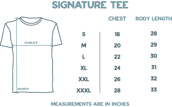 Signature Tee Sizing Guide Tool.