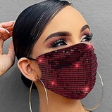 ✨Holiday Red Sequin Mask✨Holiday ⭐Essential Mask 😷 Reusable w|Filter