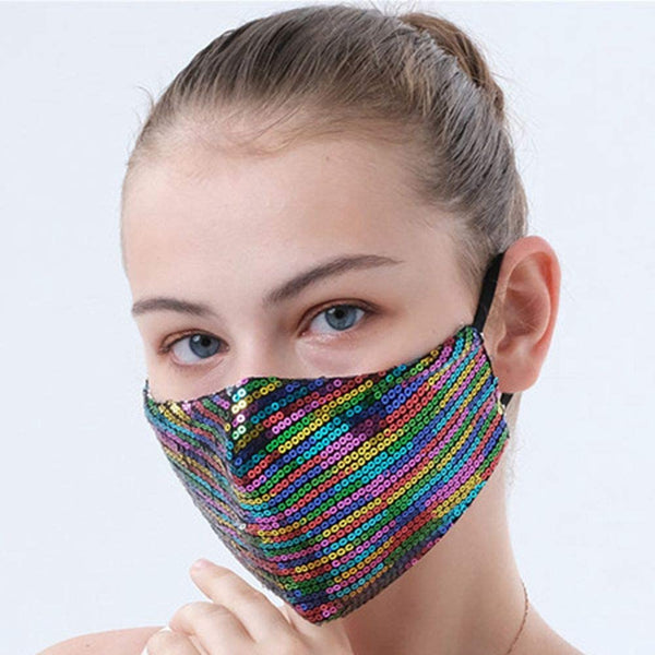 ✨Rainbow Sequin Mask✨⭐Essential Mask 😷 Reusable w|Filter