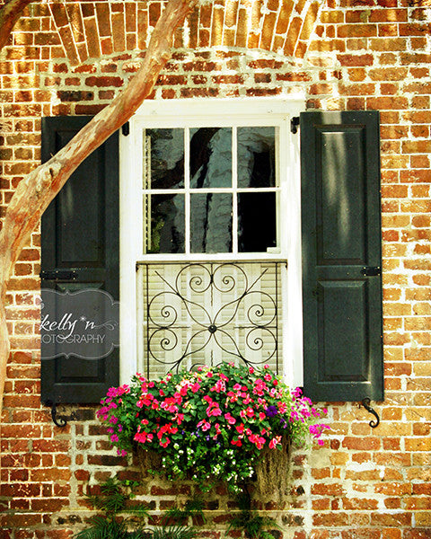 Brick and Black- Charleston Window Photograph - Kelly*N Photography - 1