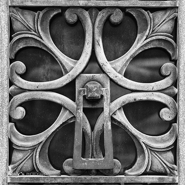 Patina Knocker - Black and White- Ironwork Photograph - Kelly*N Photography - 1
