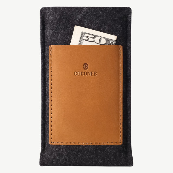 Cocones Card Wallet Sleeve - Smokey Grey / Tan