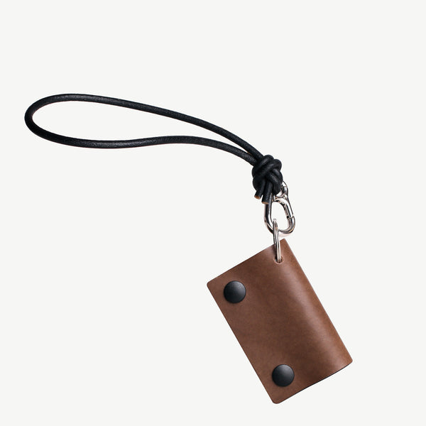 Cocones Key Two Italian Leather Key Holder With A Leather Cord Keychain Loop Brown