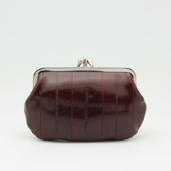 Burgundy Eel Skin Clip Purse