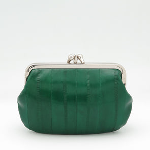 Grass Green Eel Skin Clip Purse