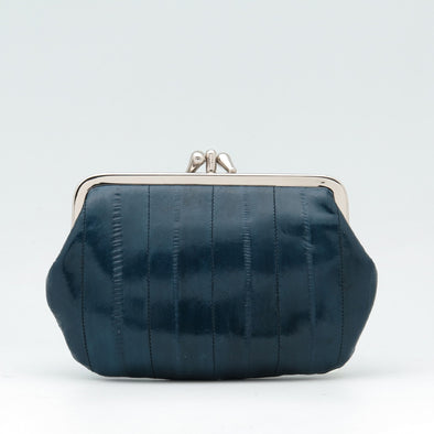 Navy Eel Skin Clip Purse
