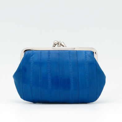 Royal Blue Eel Skin Clip Purse