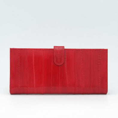 Red Eel Skin Flip Wallet