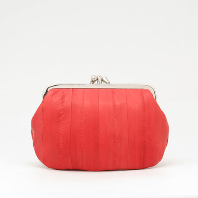 Orange Eel Skin Clip Purse