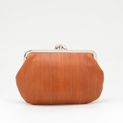 Tan Eel Skin Clip Purse