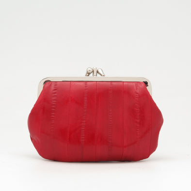 Red Eel Skin Clip Purse