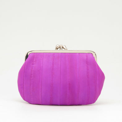 Hot Pink Eel Skin Clip Purse