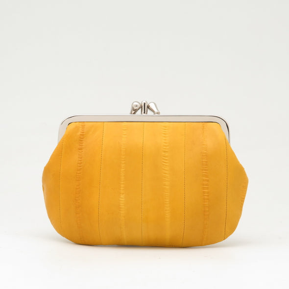 Yellow Eel Skin Clip Purse