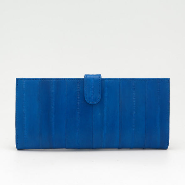 Royal Blue Eel Skin Flip Wallet