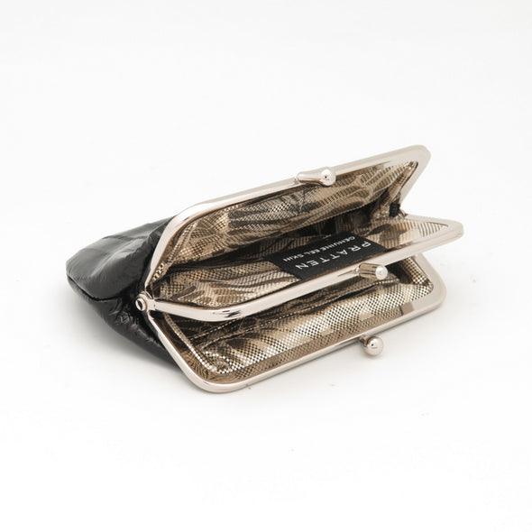 Black Eel Skin Clip Purse