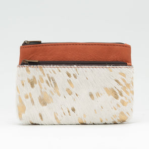 White Splash Cow Hide Double Zip Purse