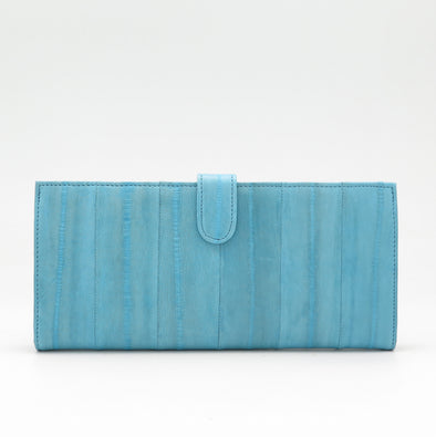 Pale Blue Eel Skin Flip Wallet