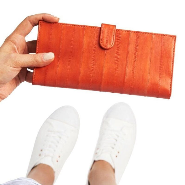 Orange Eel Skin Flip Wallet PRE ORDER available end of August
