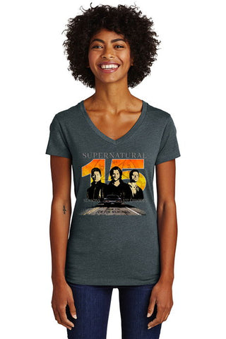 "Supernatural ""15 Seasons"" V-Neck T-Shirt (Ladies)"