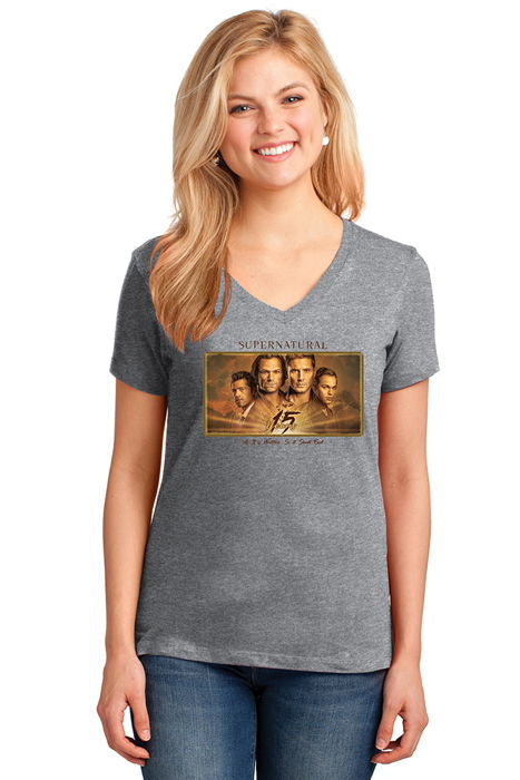 "Supernatural ""15 Years"" V-Neck T-Shirt (Ladies)"