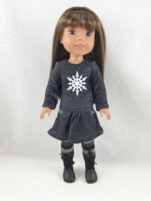 Made For Welliewishers Snowflake Tee Shirt Dress and Leggings.