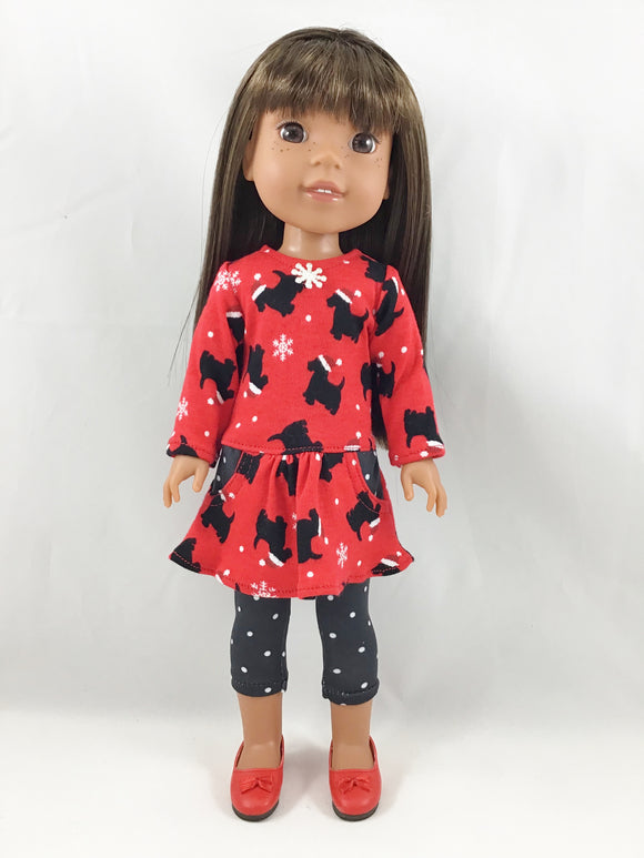 Fits Welliewishers Christmas Dress and Leggings