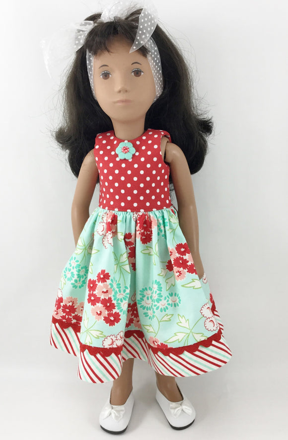 16 Inch Doll Dress Fits Sasha™ and Kish Seasons™ and Other BJD Dolls Red and Aqua Flowers Stripes Polka Dots