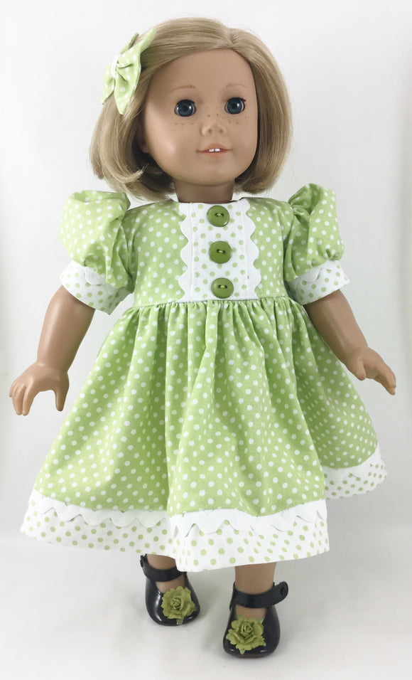 The Olivia Dress and Hair Bow Green White Polka Dots