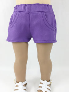 "Purple 4 Pocket Shorts For 18"" Dolls"