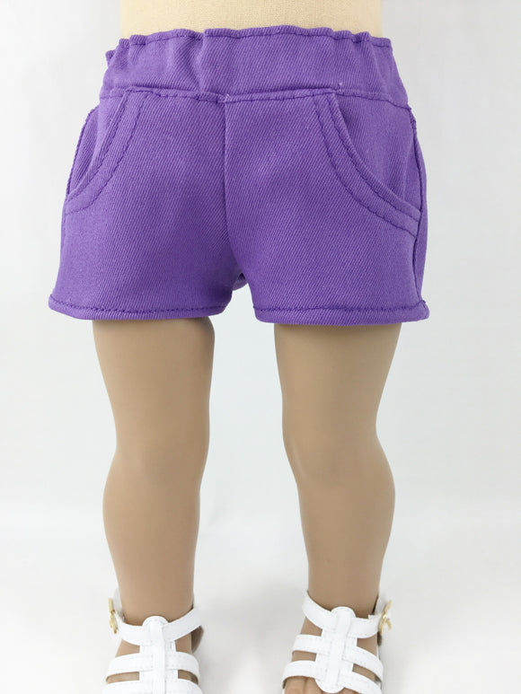 Purple 4 Pocket Shorts For 18