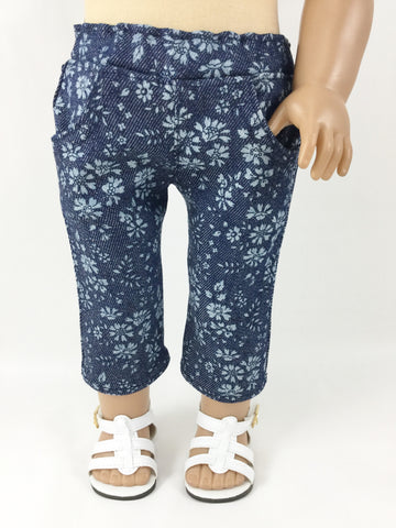 Denim Capris Fits American Girl and Other 18 Inch Dolls