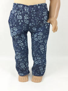 Jeans For 18 Inch dolls 4 Pocket Floral Denim