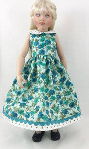 "Fits Sasha Kish Other 16"" Slim Dolls Sleeveless Calico and Polka Dot Dress With Peter Pan Collar"