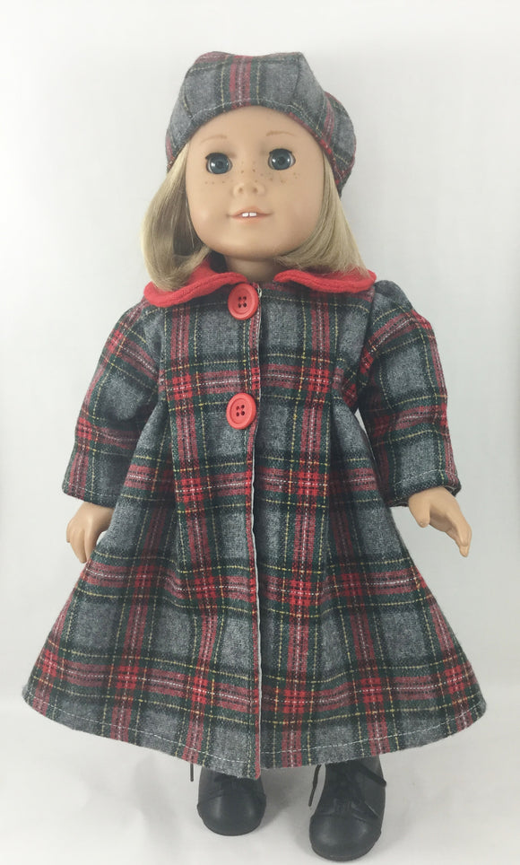 The Madeline Coat and Hat Red and Grey Plaid