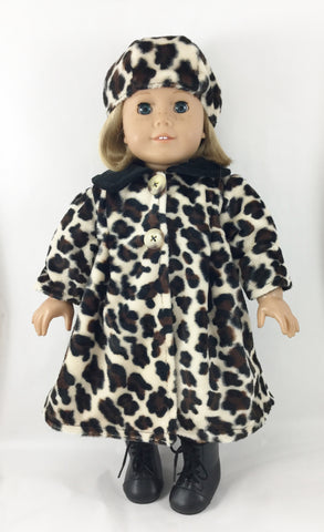 Coat and Hat Fits AG 18 Inch Dolls Leopard Print Faux Fur