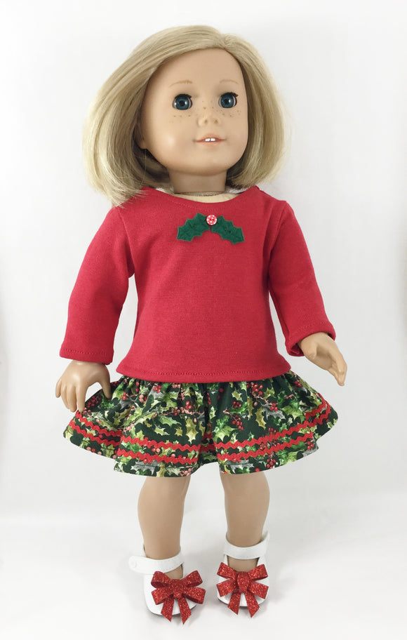 The Cameron Set Tee Shirt Ruffled Skirt Christmas
