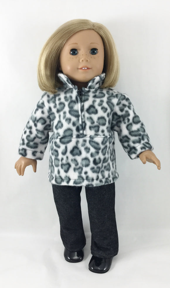 The Brooke Set Zip Pullover and Pants Snow Leopard