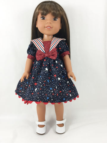 "Sailor Dress Fits WellieWishers and 13"" - 14"" Dolls Red White and Blue Stars and Stripes"