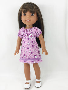 "Fits WellieWishers Purple Print Peasant Dress For 13"" and 14"" Dolls"
