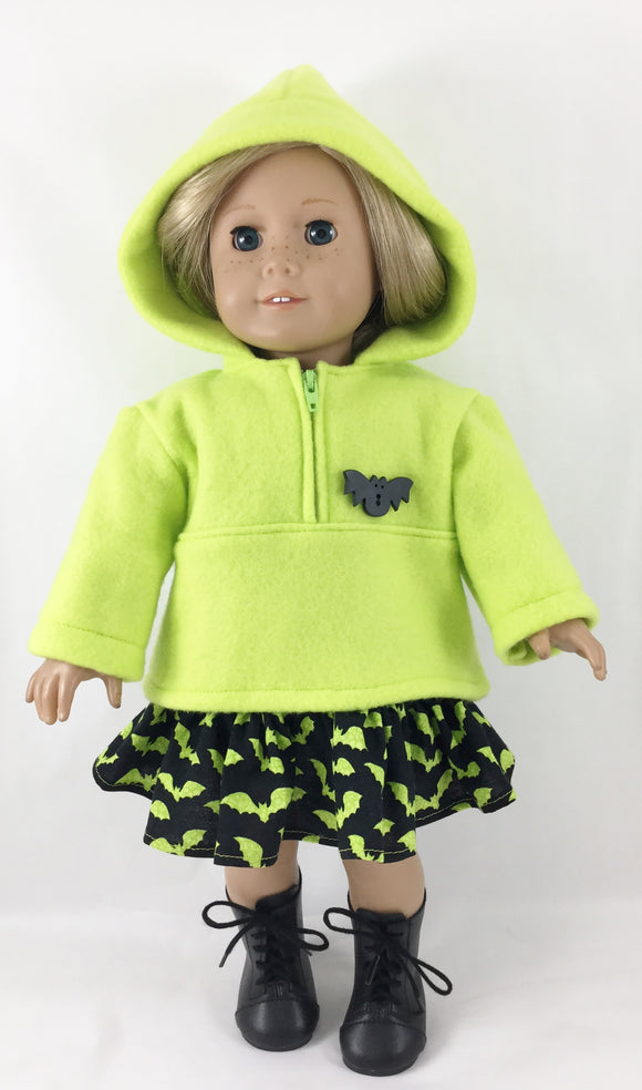 Lillian Set Hoodie Half Zip Pullover Ruffled Skirt Halloween