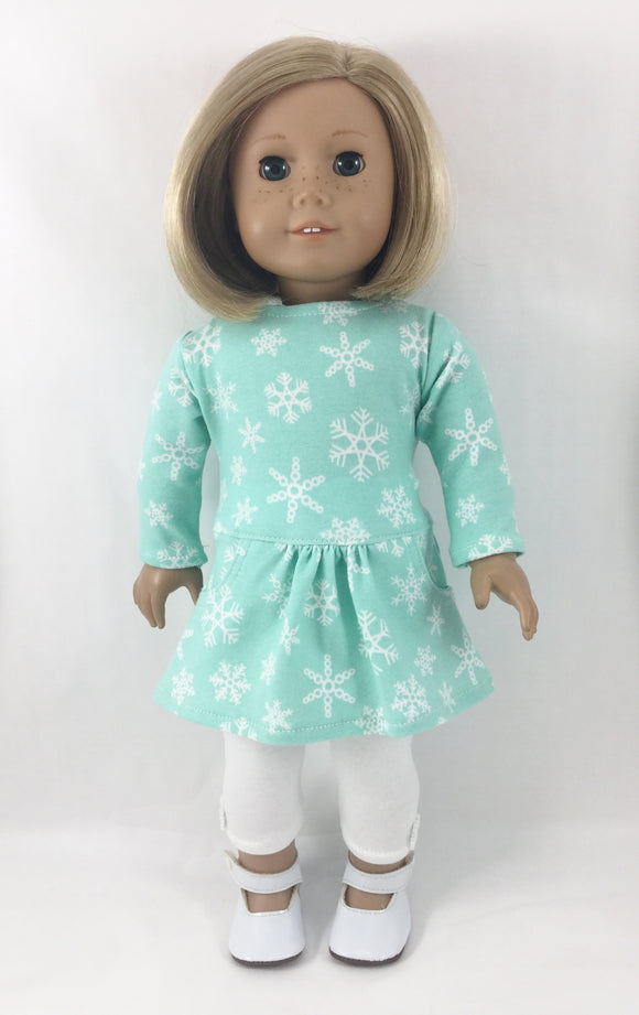 The Page Tee Shirt Dress and Leggings Mint and White Snowflakes