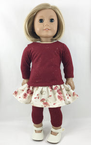 The Nina Tee Shirt Ruffles Skirt Leggings Cranberry Glitter and Floral